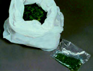 Photo of a bag of cannabis and a deal bag.